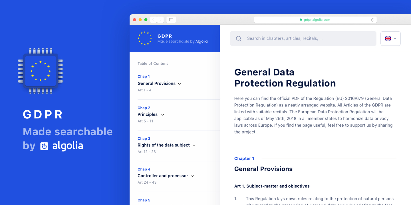GDPR made searchable by Algolia. Chapters, articles and recitals easily readable
